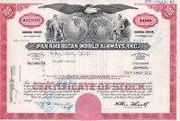 Pan American World Airways Inc. Stock Certificate 1978