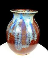 "RASH SIGNED STUDIO ART POTTERY LARGE STONEWARE DRIP GLAZE 10 5/8"" VASE 1978"