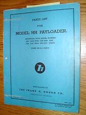 Hough HH-B PARTS MANUAL BOOK CATALOG WHEEL PAYLOADER GUIDE LIST International