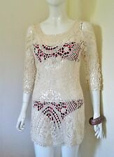 Ladies Cream Kaftan Beach Cover-up Beach Top Crochet Top Beach Top One Size