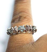 4.0 Tcw Red, Black Raw Diamond Ring, Blue Rough Diamonds sterling silver ring