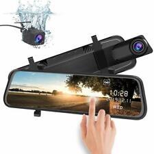 "10"" HD 1080P Dual Lens Car Dash Cam Recorder Mirror Touching Night Vision"