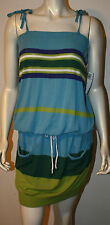 BENETTON Blue Green White Purple Stripe Knit Dress NWT M Drawstring Waist Pocket