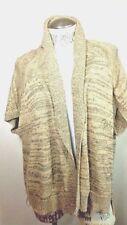 Ann Taylor Loft Cardigan Sweater Short Sleeve Beige / Sz Medium