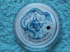 2012 Australian Silver Dragon Lunar Series II Colorized BU 1 OZ White/Blue