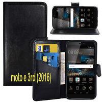 BLACK WALLET CARD SLOT stand GEL CASE FOR Motorola Moto E3 3rd generation (2016)
