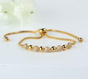 Gold Bead Bracelet Semi Ball Bracelet with Drawstring Adjustable Closure