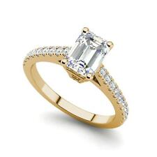 Classic Pave 2.45 Carat VS2/F Emerald Cut Diamond Engagement Ring Yellow Gold
