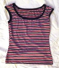 Vintage Stretchy Multi-Color Stripe Sleeveless Pullover Top
