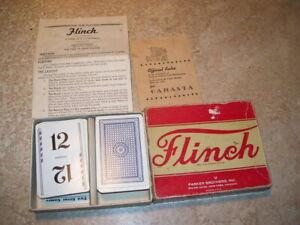 Antique Vintage Parker Brothers Flinch Card Game in Original Box