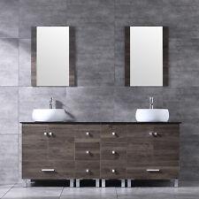 72 Bathroom Double Vanity Combo Wood W White Cabinet Round Ceramic Sink Modern