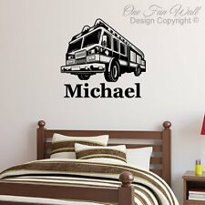 Fire Truck Wall Decal Personalized Name Sticker Décor Kid's Room Firefighter