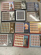 excellent lot Legends of Hollywood stamp sheets framed wayne dean monroe bogart+