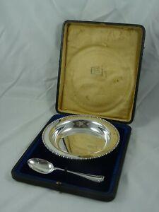HARRODS - sterling silver BABY FEEDING BOWL & SPOON, 1911, 274gm