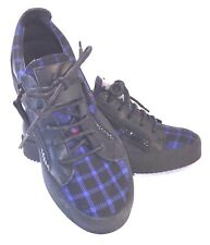 Guiseppe Zanotti Black/Blue Plaid Sneakers Lace Up Double Zipper Sz 8/38.5 NEW