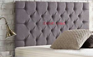 """CHESTERFIELD HEADBOARD CHENILLE 24"""" BED HEAD - SMALL DOUBLE KING SUPERKING"""
