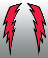VINTAGE BOB HANNAH LIGHTNING BOLT DECALS HELMET MOTOCYCLE RED W/ BLACK TRIM