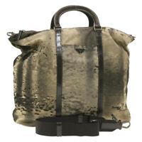 PRADA Nylon 2Way Hand Shoulder Bag Brown Auth rd1200