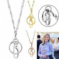 3 Colors Stainless Necklace Lanyard Office ID Holder Work Lanyard Accessories