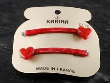 Vintage KARINA Red Hearts Bobby Pin Pair  Hair Accessory New Old Stock on Card