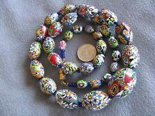 "Fabulous 24.2"" Vintage Venetian Murano Millefiori Glass Bead Necklace Graduated"