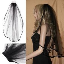 Black Gothic Wedding Bridal Veil Edge Comb Elbow Fancy Dress Party
