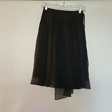 BCBG Maxazria Black Skirt Tie On 100% Silk Womens Size 8