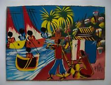 "Haitian Folkart  - Acrylic on Masonite - Haiti - Unsigned - 16""x12"""