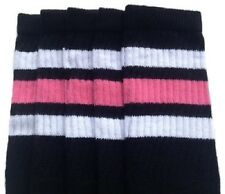 "25"" KNEE HIGH BLACK tube socks with WHITE/BUBBLEGUM PINK stripes st 1 (25-78)"