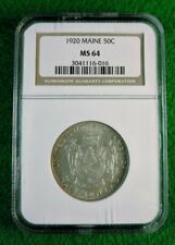 1920 MAINE COMMEMORATIVE 50c HALF DOLLAR  NGC MS64 #3041116-016