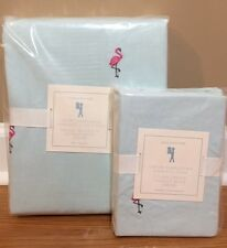 NEW Pottery Barn Kids Oxford FLAMINGO Embroidered TWIN Duvet + Sham TEAL PINK