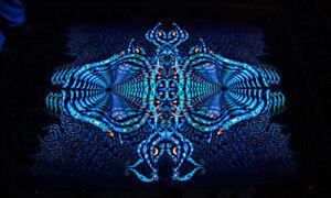 PSYCHEDELIC TAPESTRY UV trippy blacklight backdrop glow visionary psy trance art