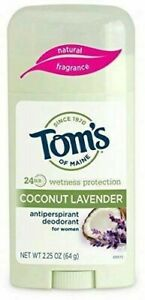NEW Tom's of Maine Women's Stick Natural Antiperspirant Coconut Lavender 2.25 oz
