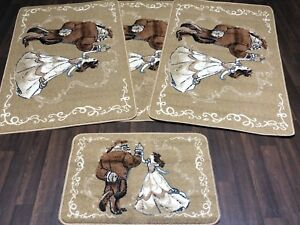ROMANY GYPSY WASHABLES NEW DESIGNS SET OF 4 MATS CREAM/BROWNS NON SLIP RUGS