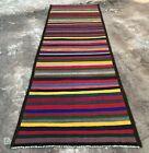 Hand Knotted Vintage Afghan Maimana Surpuri Kilim Wool Area Runner 8.3 x 2.5 Ft