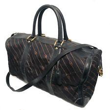 Vintage Gucci Black Monogram Frabric / Leather Duffle Bag