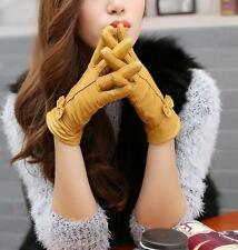 Fashion Women's Winter Warm Genuine Lambskin Leather Driving Soft Lining Gloves
