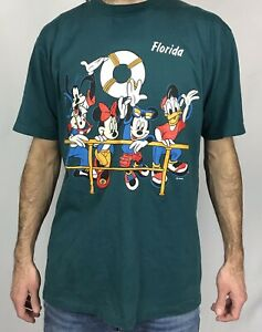 Vintage 90s Mickey Mouse Graphic T Shirt Disney Large L Florida Minnie Goofy USA