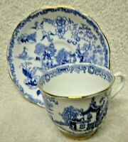 Royal Albert  Crown China Oriental  Blue Stencil Cup and Saucer