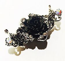 USA Black Flower Hair Clip Bobby Pin Crystal ROSE Hair jewelry Vintage