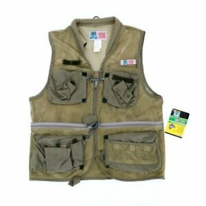 BASS EAGLE CLAW Men's Large Vest Fishing Outdoor Mesh Zipper NEW (SHIPS FAST)