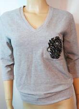 SON OF JOHN Heather Gray Stretchy Knit Beaded Paisley Fleur de Lis Shirt Top 00