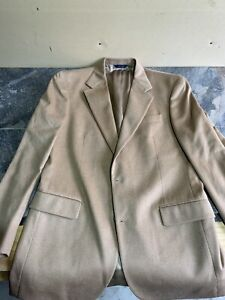 Brooks Brothers Mens Size 40 L Brown Camel Hair 2 Button Suit Jacket Italy C48