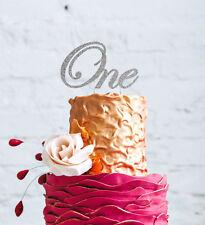 Numero UNO VORTICE CAKE TOPPER-Glitter Argento - 1st COMPLEANNO CAKE TOPPER Grande