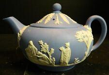Vintage Embossed Pale Blue Wedgwood Jasperware Tea Pot England Excellent Cond