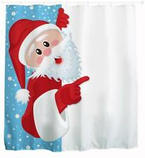 Father Christmas Leaning Around White Curtain Xmas Santa Bathroom Shower Curtain