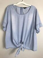 Lane Bryant Light Blue Chambray Top Blouse Shirt-Tie Front-Cotton-Size 26/28