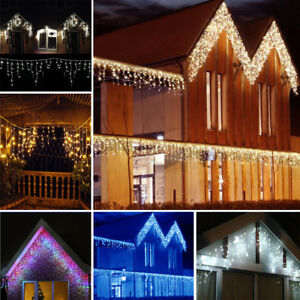 Connectable 5M-25M Icicle Snowing Falling Christmas Outdoor LED Fairy Lights UK