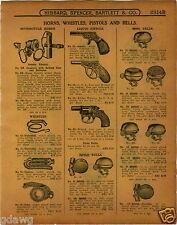 1915 PAPER AD Samson Motorcycle Horn Display Rack Bicycle Bells New Departure