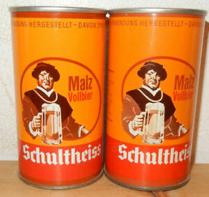 2 SCHULTHEISS MALZ Vollbier Straight Steel Beer cans from GERMANY (35cl)